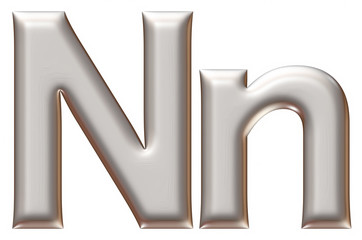 Letter N from silver alphabet on isolated white.