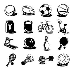 Vector black icon sport set