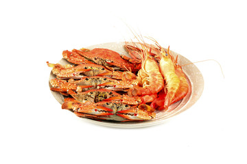 Hot steamed red crab and lobster
