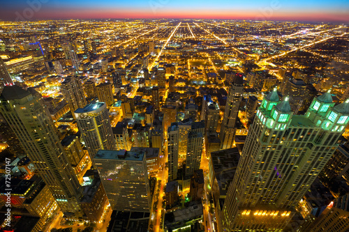 Aerial view of Chicago at twilight, IL, USA