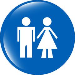 icon toilet button, Man and Woman icon isolated on white