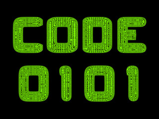 A translucent sign for binary code in green on black
