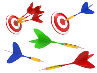 Colorful Darts Hit in Target.