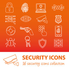 security outline icons