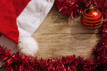 christmas decoration with empty space on wooden board