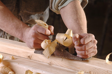 joinery workshop with wood