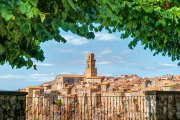 Panorama old town Pitigliano Tuscany Italy