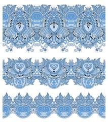blue colour seamless ethnic floral paisley stripe pattern