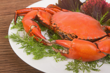 Steamed red crab on a plate