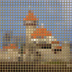 Castle pixelated image generated texture