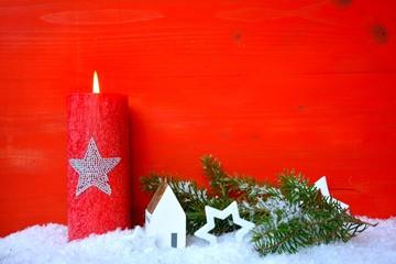 Hintergrund - rote Kerze mit Stern