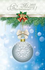 Christmas card with Christmas ball on fir branch