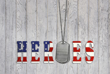military dog tags for heroes on wood