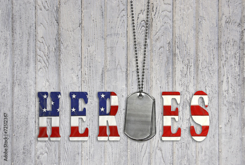 military dog tags for heroes on wood - 72512367
