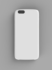 White plastic case mock-up for smartphone. Top view