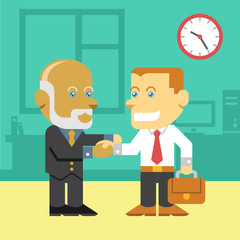 Business people shaking hands vector flat color illustration