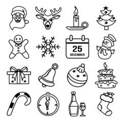 Vector Christmas black silhouette icon set