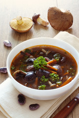 Bowl of soup with kidney beans and  mushrooms