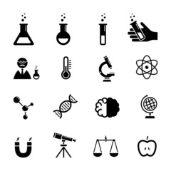 Vector chemistry black icon set