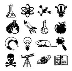Vector chemistry black icon set