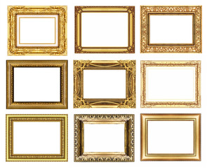 set 9 of vintage gold frame isolated on white background.