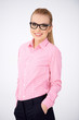 Confident relaxed woman in glasses