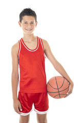 child playing the basketball a over white background