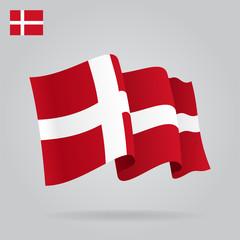Flat and waving Danish Flag. Vector