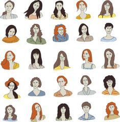 set woman face icon