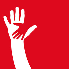 Vector cover two hands, help and solidarity