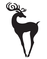 Silhouette of beautiful Christmas antlered deer