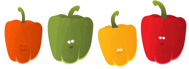 poivrons vert, rouge, orange et jaune