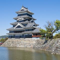 Matsumoto Castle - The keep and moat. Matsumoto, Nagano, Japan.