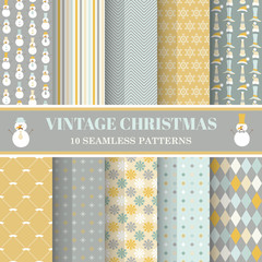 Christmas Retro Set - 10 seamless patterns