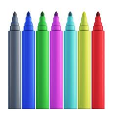 Set of colored felt-tip pens.