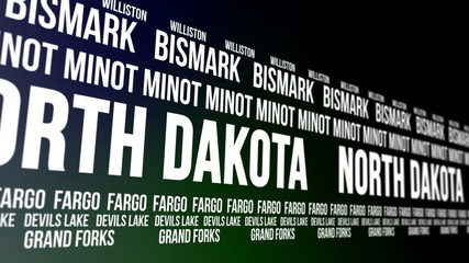 North Dakota State and Major Cities Scrolling Banner