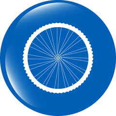 bike wheels glossy web icon button isolated on white background
