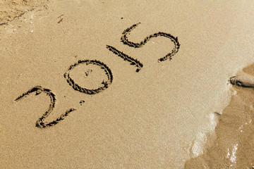 New Year 2015 on sand