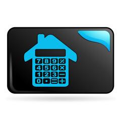 calculatrice maison sur bouton web rectangle bleu
