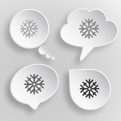 Snowflake. White flat vector buttons on gray background.