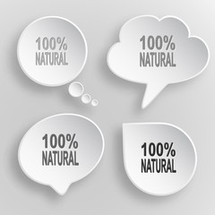 100% natural. White flat vector buttons on gray background.