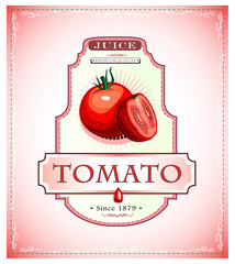 Tomato juice or food product label