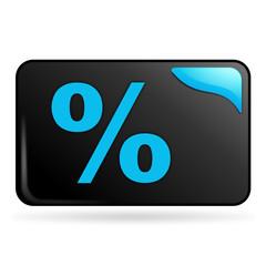 pourcentage sur bouton web rectangle bleu