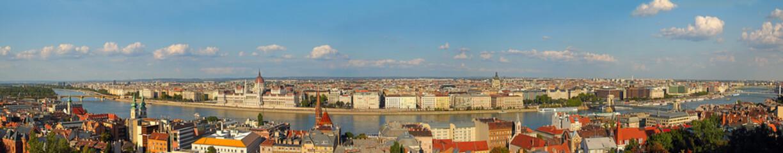 Budapest, Danube River embankment panorama. UNESCO WH