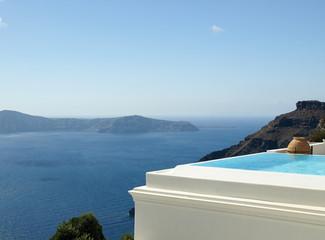 Infinity pool in Santorini, Greece