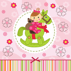 baby girl with bear on horse - vector illustration, eps