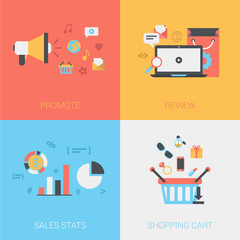 Flat promote, review goods, sales stats, shopping cart vector