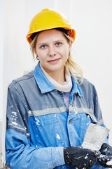 Female plasterer portrait