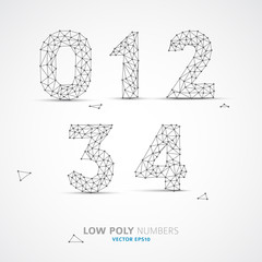 Vector low poly (wired) numbers font