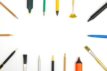 writing and drawing utensils building a frame